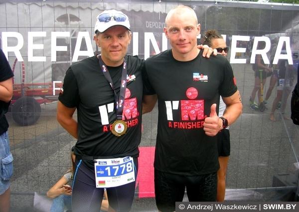 Тренер Дмитрий Толкачёв, триатлет Александр Василевич, триатлон Enea IRONMAN 70.3 Gdynia 2017