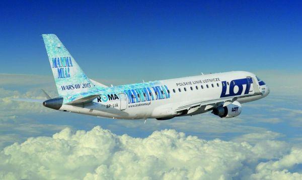 Брендирование самолёта, реклама на самолёте, авиакомпания LOT, IRONMAN триатлон