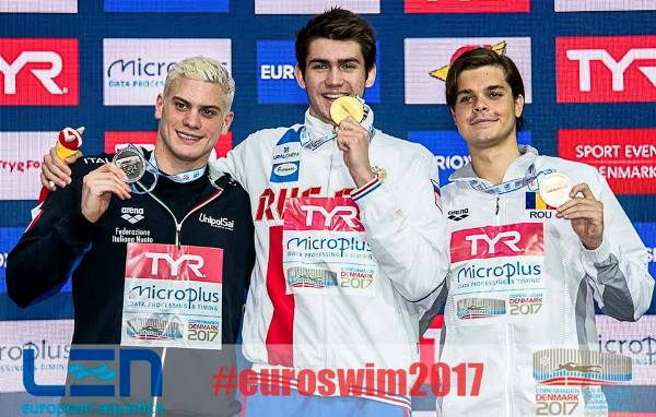 European SC Swimming Championships 2017 – 100 m Backstroke Men, KOLESNIKOV Kliment, SABBIONI Simone, GLINTA Robert-Andrei, Swim.by