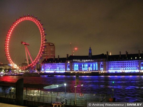 Лондон, London Eye, ночная панорама Лондона