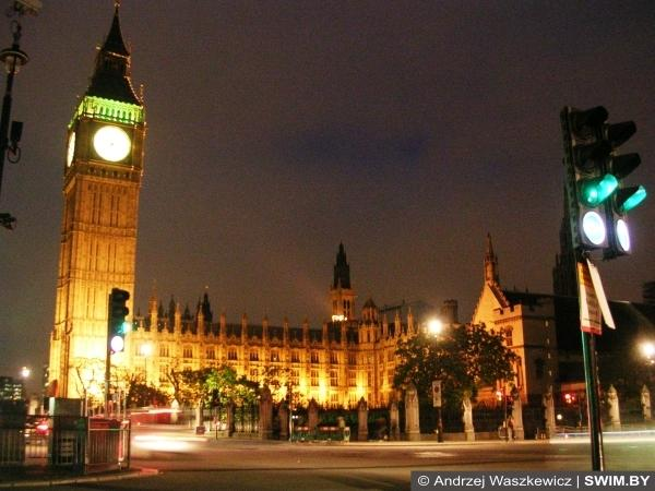 Лондон, ночная панорама Лондона, Парламент, Бег-Бен