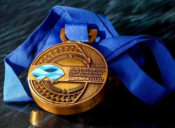 Medal World Athletics Half Marathon Championships Gdynia 2020, IAAF World Half Marathon Championships, www.running.by, Gdynia Half Marathon Medal 2020, World Athletics Half Marathon Championships Gdynia 2020, Gdynia Half Marathon 2020, Swim.by