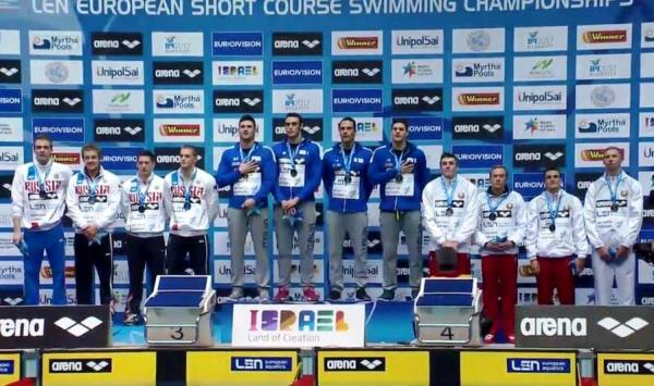 4x50 medley relay men, European swimming championships, Netanya 2015