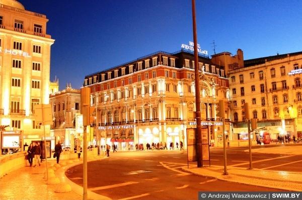 Ночной Лиссабон праздник Новый год в Европе