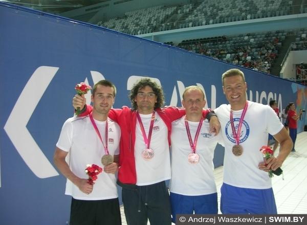 Peter Pokorny, Petr Gregor, Bohumír Šraut, Andrzej Waszkewicz swimming
