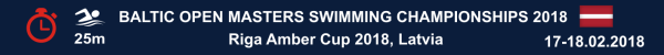 Baltic Open Masters Swimming Championships, Результаты, Riga Amber Cup 2018, Results