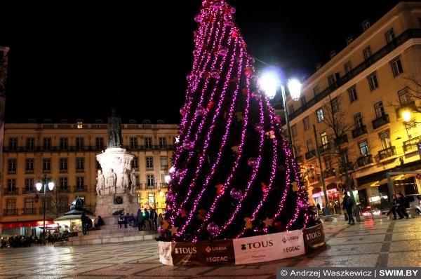 Рождественская ёлка в Лиссабоне в Европе