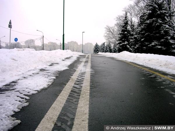 Трасса, бег, зима, велодорожка, swim.by