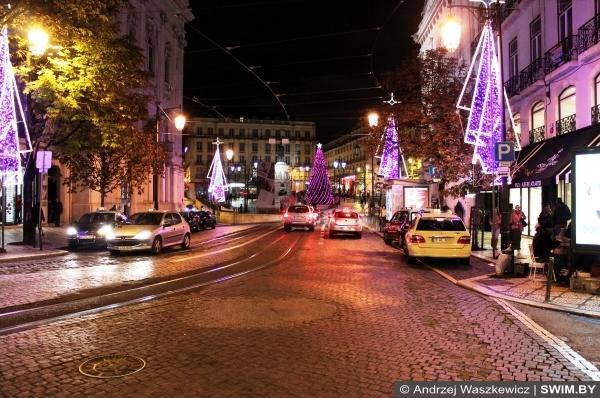 Улицы Лиссабона Рождество в Европе