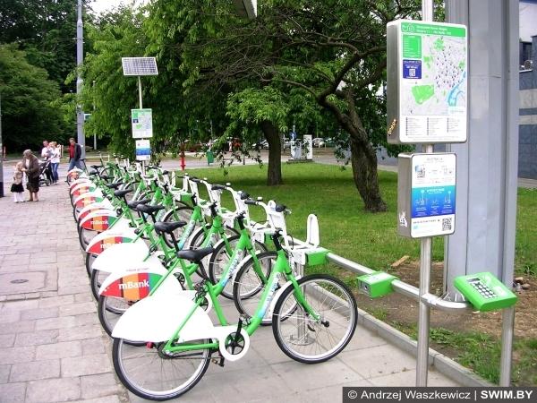 Велопарковка, велопрокат, Щецин, Польша
